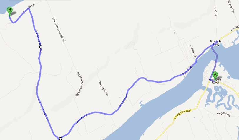A map showing an alternate route from Annapolis to the campground through Hollow Mountain Rd.