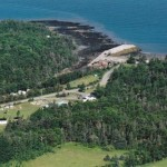 An aerial view of the campground and the Bay of Fundy.